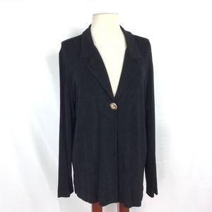 Chico's Travelers Sz 3 XL One Button Jacket Black